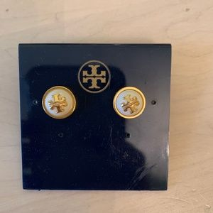 Tory Burch White and Gold Half Circle Earrings